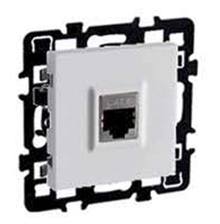 Prise rj 45 cat 6 stp grade 3 (multimédia) multi-services + enjoliveur + cache peinture