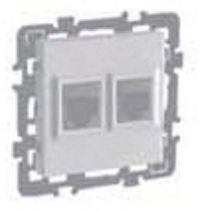 Prise rj 45 double cat 6 stp grade 3 (multimédia) multi-services + enjoliveur + cache peinture