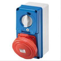 Prises verticales étanches avec interrupteur de verrouillage 50/60hz sans fonc (IEC309) (IP55)2p+t 63a 230v 6h sbf