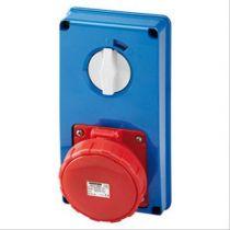 Prises verticales étanches avec interrupteur de verrouillage 50/60hz sans fond et avec socle porte fusible (IEC309) (IP55)3p+t 6