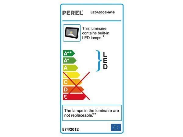 Projecteur led design - 50 w, blanc neutre - noir (LEDA5005NW-B)