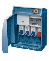 Q-box 4-63 avec bornier d\'alimentation - câblé - 2 prises 2p+t 16a + 3 prises 3p+t 16a - ip55