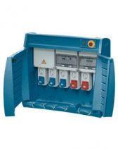 Q-box 6-100 avec bornier d\'alimentation - câblé - 3 prises 2p+t 16a + 2 prises 3p+n+t 32a + 1 prise 3p+n+t 63a - ip55