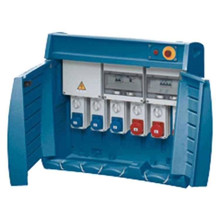 Q-box 6-80 avec bornier d\'alimentation - câblé - 2 prises 2p+t 16a + 1 prise 3p+t 16a + 1 prise 3p+n+t 16a +1 prise 3p+t 32a + 1
