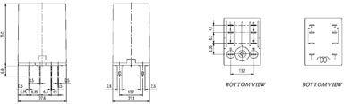 Relais 2rt 12vac 5a avec led + bouton test