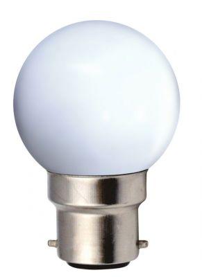 Ampoule sph rique coloris blanc led 1w b22 30 60lm for Nouvelles ampoules equivalence watts