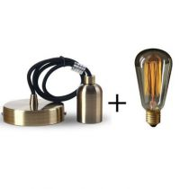 Suspension bronze E27 + Ampoule Edison filament métallique droit 40W