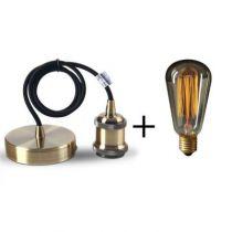 Suspension bronze E27 + Ampoule Edison filament métallique droit 40W