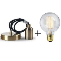 Suspension bronze E27 + Ampoule globe filament métallique droit 40W
