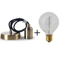 Suspension bronze E27 + Ampoule globe filament métallique spiralé 60W