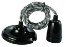 Suspension Céramique Noire + 2m Câble Noir/Blanc (187562)