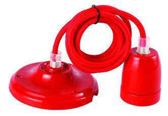 Suspension Céramique Rouge + 2m Câble Rouge (187561)
