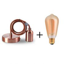 Suspension cuivre E27 + Ampoule Edison filament LED 2W