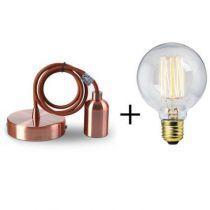 Suspension cuivre E27 + Ampoule globe filament métallique droit 40W
