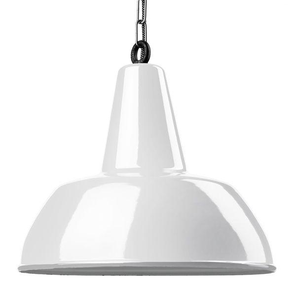 Suspension émaillée Diffusion large blanche E27 diam 40 cm avec cable en tissu noir et blanc 1,5m (100045)