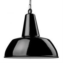 Suspension émaillée Diffusion large noire E27 diam 40 cm avec cable en tissu noir et blanc 1,5m (100044)