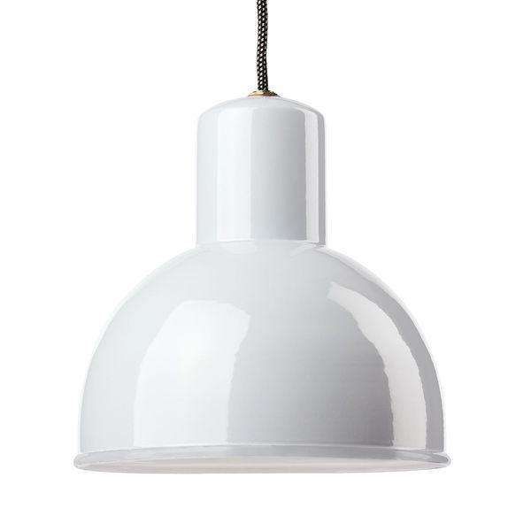 Suspension émaillée ronde blanche E27 diam 25 cm avec cable en tissu noir et blanc 1,5m (100056)
