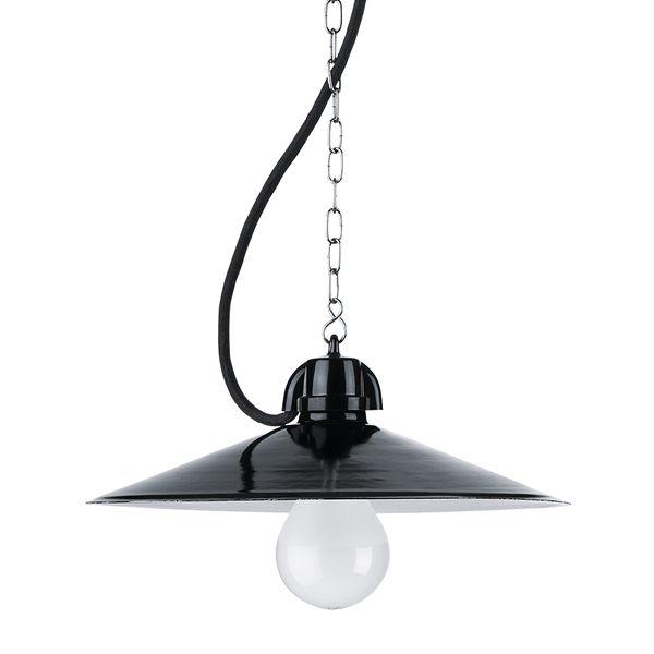 Suspension en email et duroplast noir avec cable tissu noir et chaine 1,5m (100875)