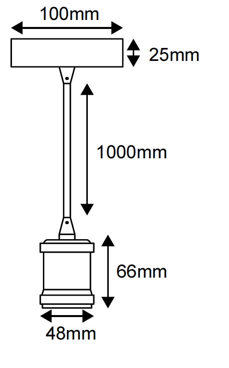 Suspension métal antique avec câble textile marron de 1m et douille filetée E27 (241605)
