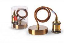 Suspension métal antique avec câble textile marron de 1m et douille filetée E27