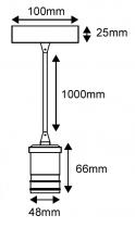 Suspension métal bronze avec câble textile noir de 1m et douille filetée E27 (241604)