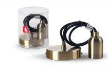 Suspension métal bronze avec câble textile noir de 1m et douille lisse E27