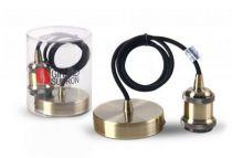 Suspension métal bronze avec câble textile noir de 1met douille filetée E27