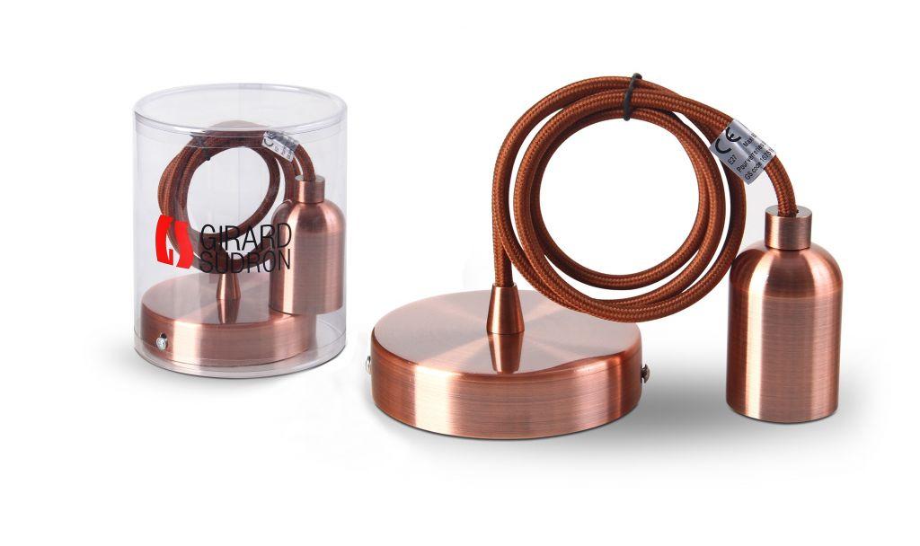 Suspension métal cuivre avec câble textile marron 1m et  douille lisse E27