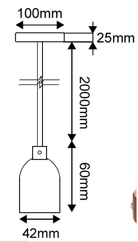 Suspension métal cuivre avec câble textile marron 2m et  douille lisse E27
