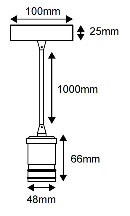 Suspension métal gris avec câble textile noir de 1m et douille E27 (241606)