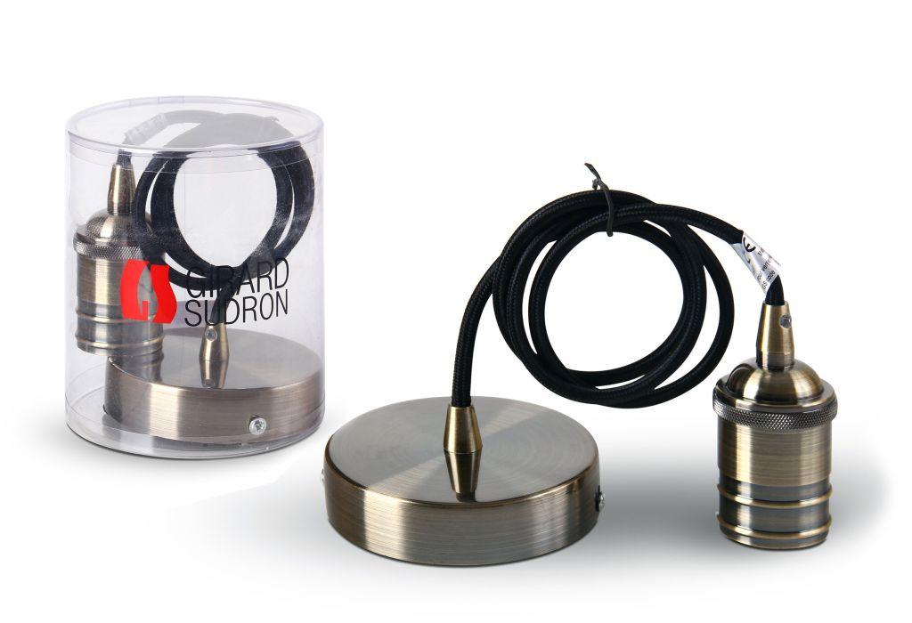 Suspension métal gris avec câble textile noir de 1m et douille E27