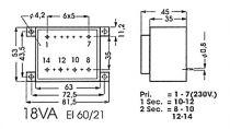 Transformateur moule 18va 2 x 24v / 2 x0.417a (2240180M)