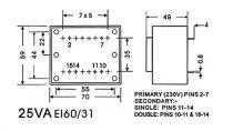 Transformateur moule 25va 2 x 7.5v / 2 x 1.667a (2070250M)