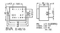 Transformateur moule 8va 2 x 15v / 2 x 0.250a (2150080M)