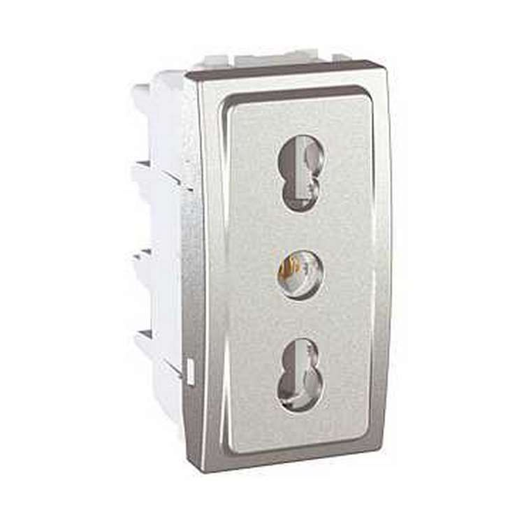 Unica Alu prise de courant 2P+T standard Italien 10/16 A 2 modules