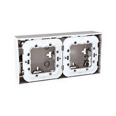 schneider unica gris bo te pour montage en saillie 2 poste 2x2 modules. Black Bedroom Furniture Sets. Home Design Ideas